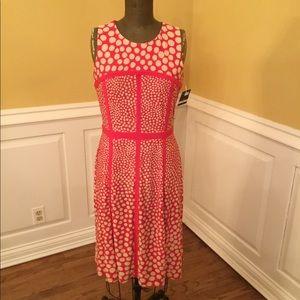 New Just Taylor - Orange/Tan Polka Dot Dress